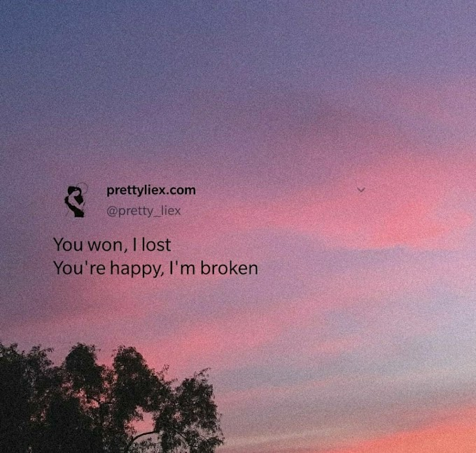 You won, I lost. You're happy, I'm broken
