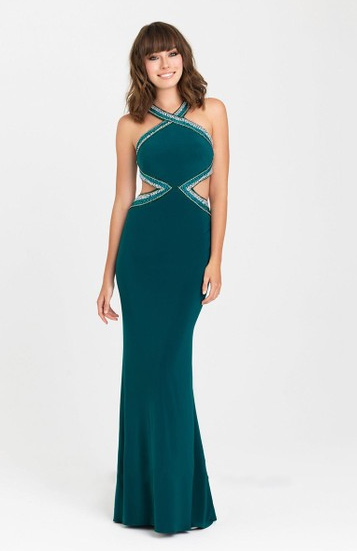 Mermaid Dark Green Silk-like Satin Beading Scoop Neck Backless Prom Dresses