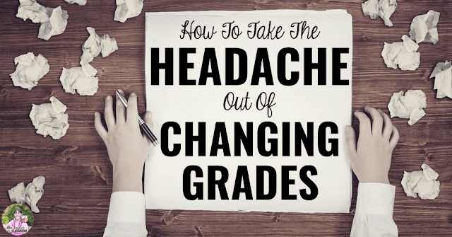 "Desk with crumpled papers and notepad reading, ""How To Take The Headache Out Of Changing Grades."""