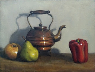 Still life oil painting of a red pepper, a copper kettle, a pear and an onion.
