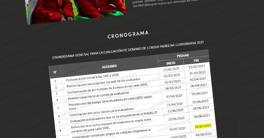 MINEDU: Cronograma actualizado para el Proceso de Evaluación de Dominio de Lengua Indígena u Originaria 2021