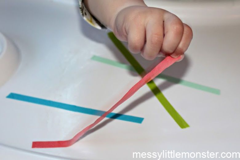 activities for babies - tape peel