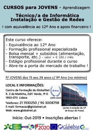 Lisboa – Curso de Técnico/a de Informática – Instalação e Gestão de Redes (para jovens que querem obter o 12º Ano)
