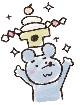 鏡餅を掲げるネズミのイラスト(子年)