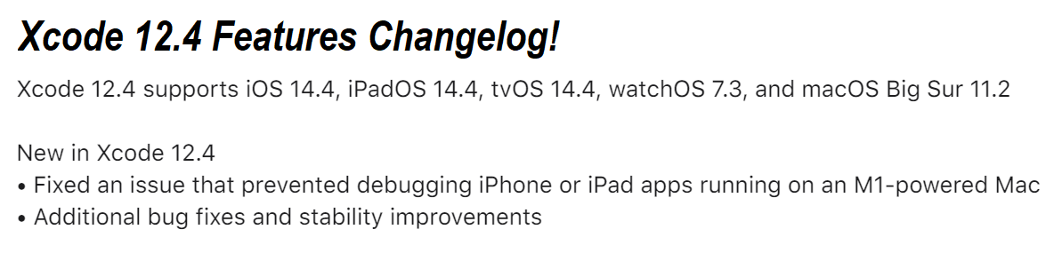 Xcode 12.4 Features