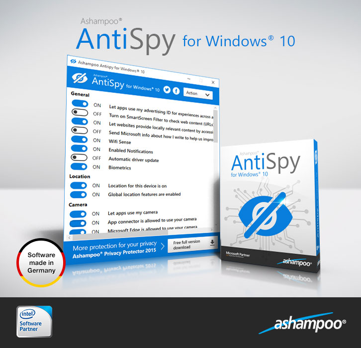 Ashampoo AntiSpy 1.1.01 for Windows 10 Free Download