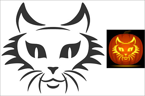 Free Cat face cutout outline for pumpkin carving 2017
