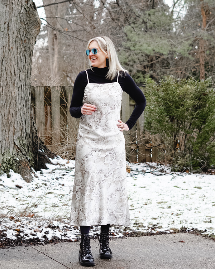how to layer a slip dress
