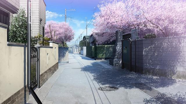 Cherry Blossom Street (Anime Landscape) (Day)