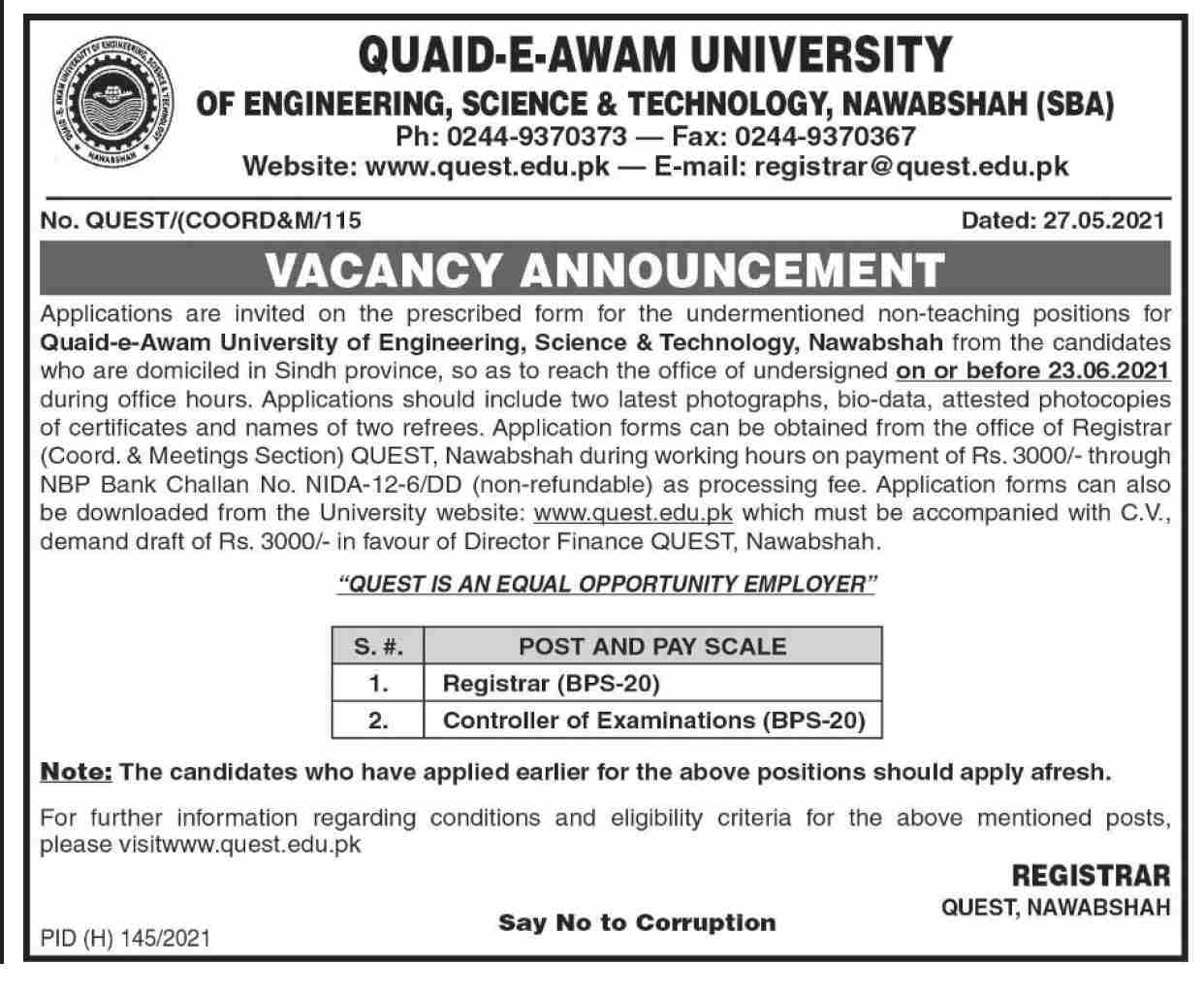 Quaid E Awam University Of Engineering Science And Technology QUEST Jobs 2021 in Pakistan