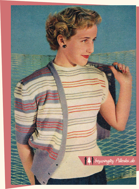 The Vintage Pattern Files: Free 1950s Knitting Pattern - Twinset mit kurzen Ärmeln