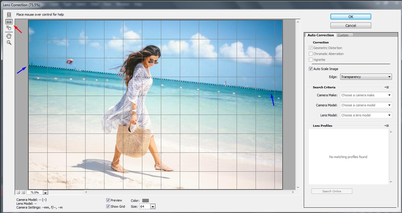 Cara mengedit foto yang memiliki horison miring