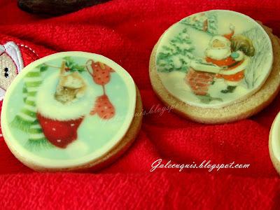 galletas navideñas decoradas con chocolate blanco y transfer