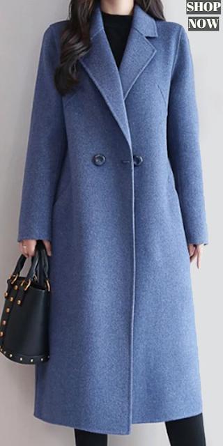 Elegant Notch Lapel Plain Outerwear