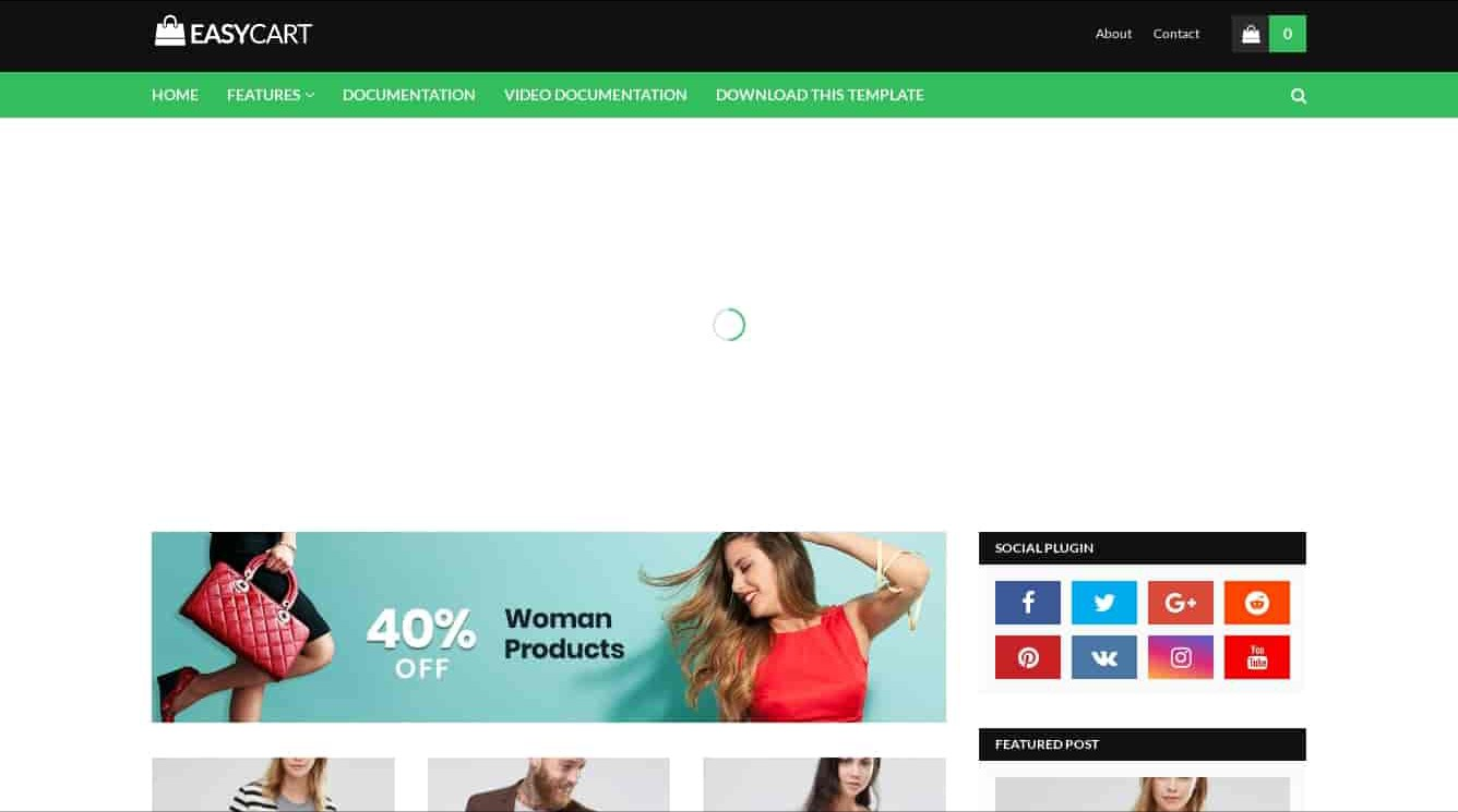 Easy cart template for shopping website,easy cart free blogger template