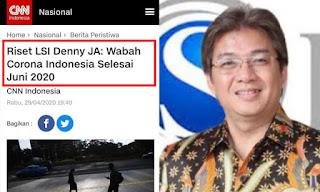 Publik Tagih Lembaga Survei Denny JA, Katanya Wabah Corona Indonesia Selesai Juni 2020