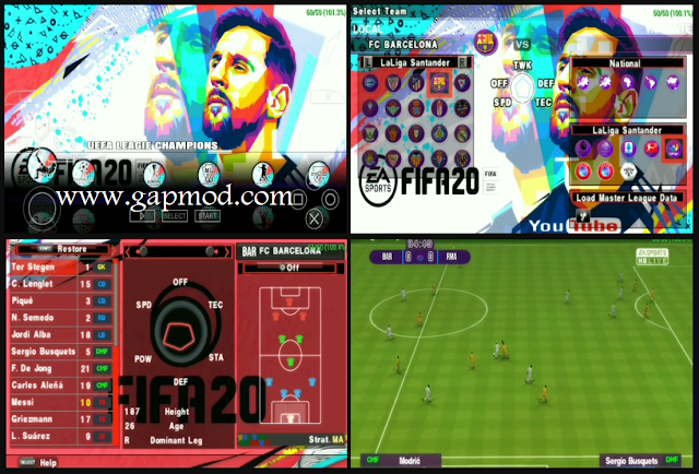 Download PES 2020 PPSSPP MOD FIFA 20 English Versions