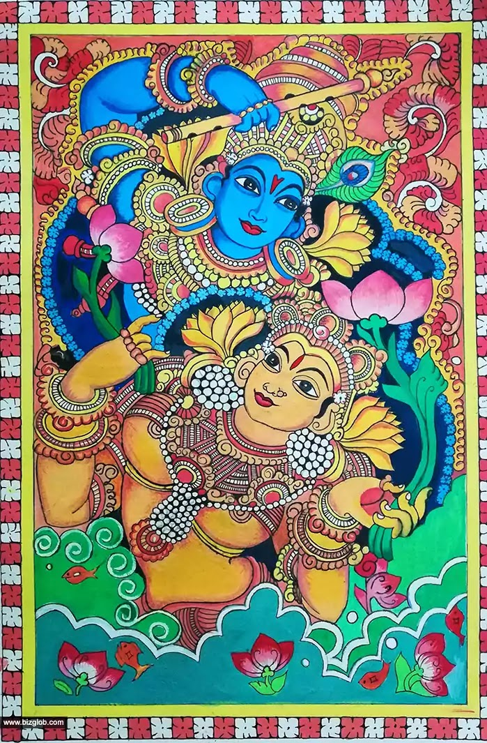 Lord Krishna and Radha Mural Painting