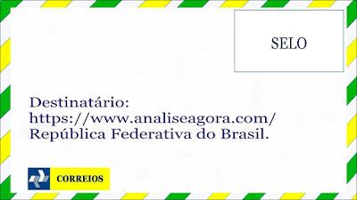A imagem nas cores do Brasil mostra envelope de carta antiga.