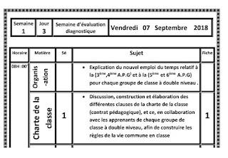 مذكرة يومية معبأة بالفرنسية لفترة التقويم التشخيصي شتنبر 2019