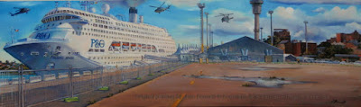 Plein air oil painting of the cruise ship 'Pacific Jewel' at the East Darling Harbour Wharves painted by marine artist Jane Bennett