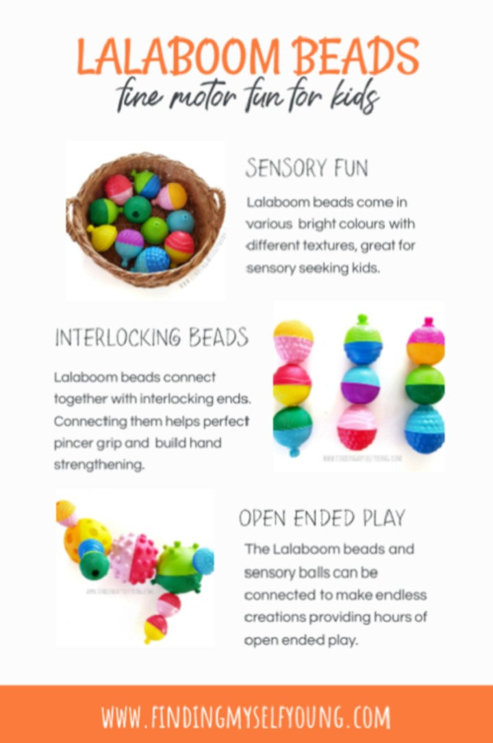 Lalaboom beads review inforgraphic sensory and fine motor benefits.