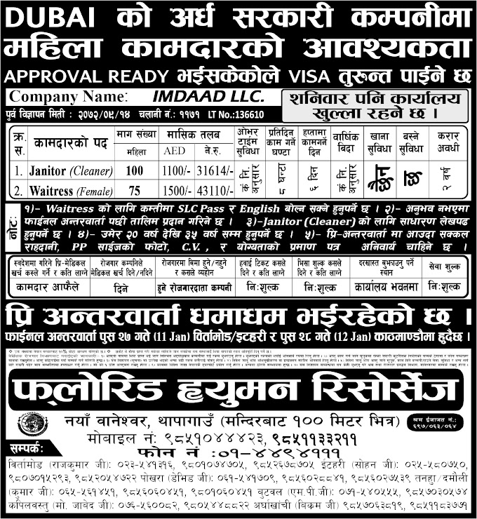 Jobs in Dubai for Nepali, Salary Rs 43,110