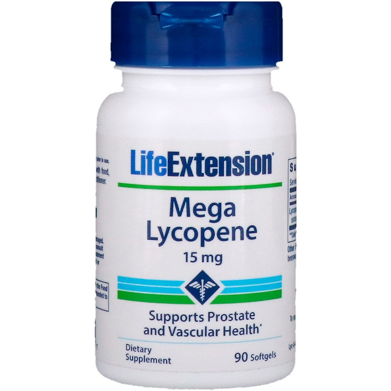 Life Extension, Мега ликопин, 15 мг, 90 гелевых капсул