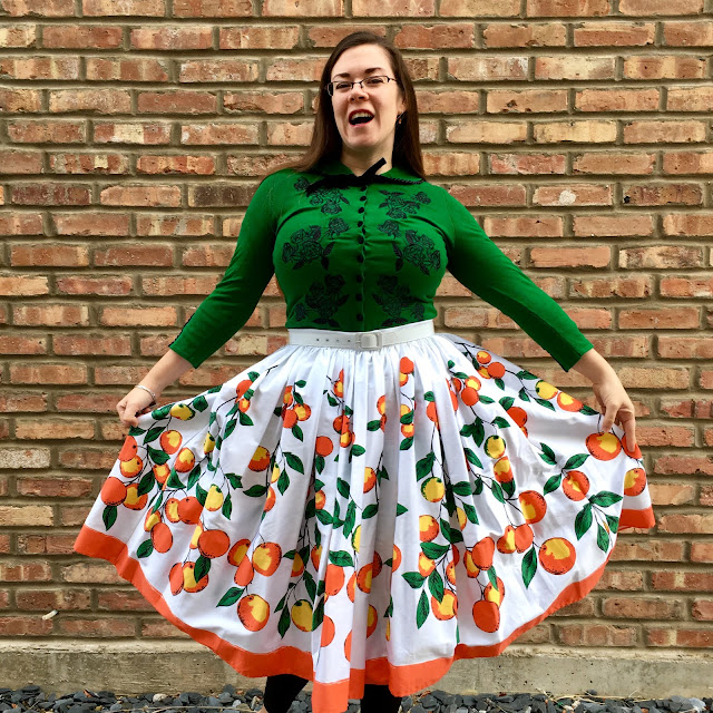 pinup girl orange border jenny skirt and green dita cardigan