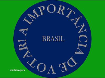 A imagem na nas cores do Brasil e em forma circular está escrito. A importância de votar Brasil.