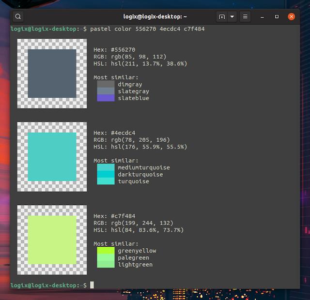 pastel show color info