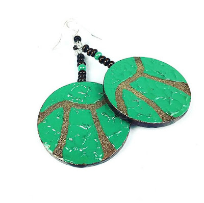 Green and gold pi earrings
