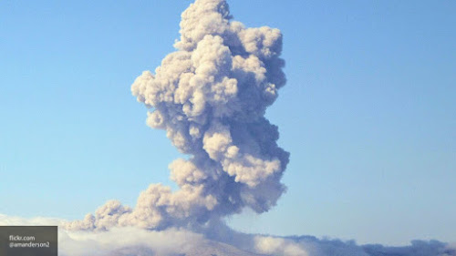 Indonesian island of Sumatra, the Sinabung volcano