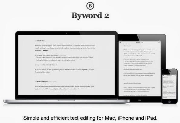 Byword blogging app for iPad