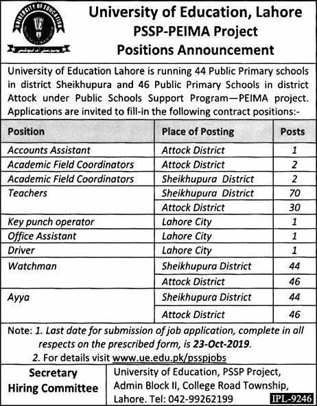 280 Jobs in University of Education Lahore