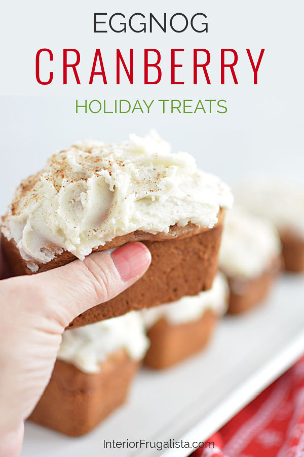 These cute mouth-watering mini cranberry eggnog loaves with eggnog nutmeg icing by Interior Frugalista are so easy to make and the perfect edible Christmas gift too! #minieggnogloaves #christmasbakingideas #festivechristmasideas