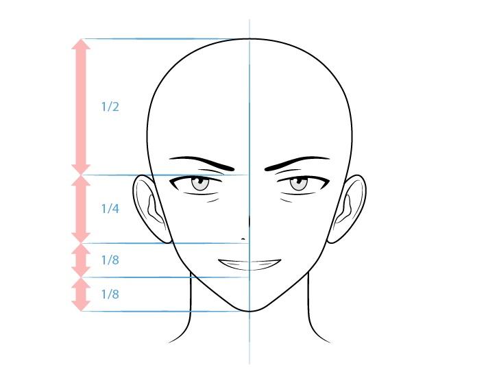 Anime karakter laki-laki menyeringai menggambar wajah