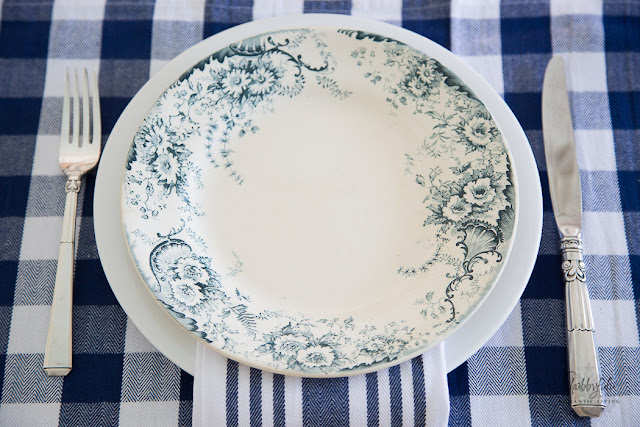 blue and white terre de fer french ironstone