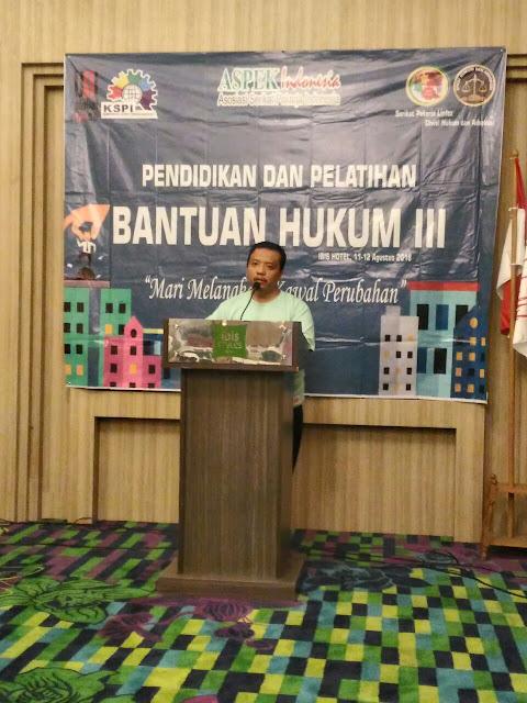 Ketua Umum Serikat pekerja linfox : Aris Kuncoro dalam acara DIKLAT BAHU 3