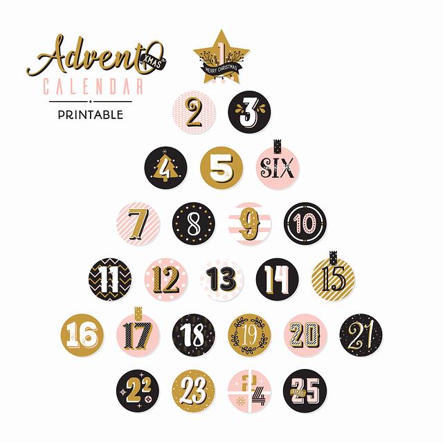 free printable download christmas advent calendar