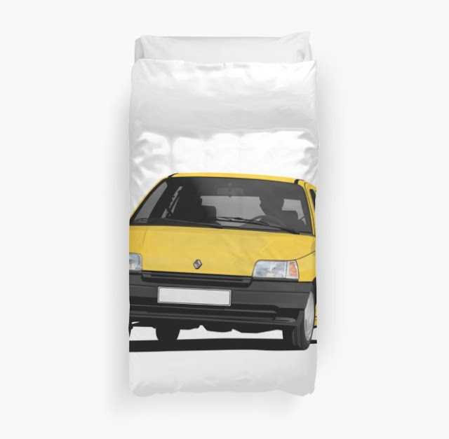 Redbubble Renault Clio illustration - yellow