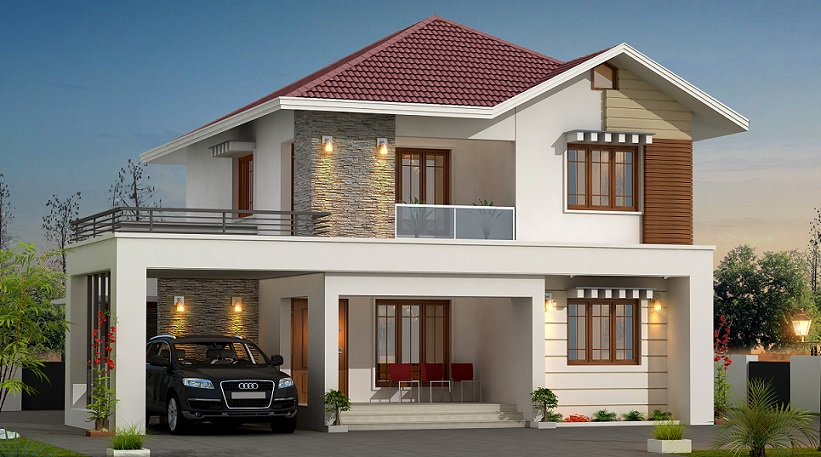 MODERN DOUBLE STORY HOUSE DESIGN WITH INTERIOR VIEWS
