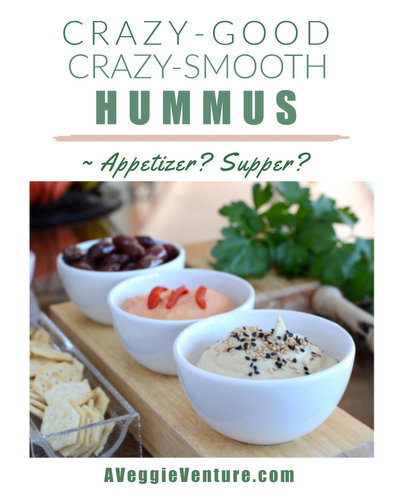Crazy-Smooth Crazy-Good Hummus ♥ AVeggieVenture.com, simple hummus, perfected with three special techniques. Vegan and lower-fat.