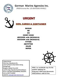seafarers jobs, seaman job vacancy, domestic seaman hiring for Filipino crew