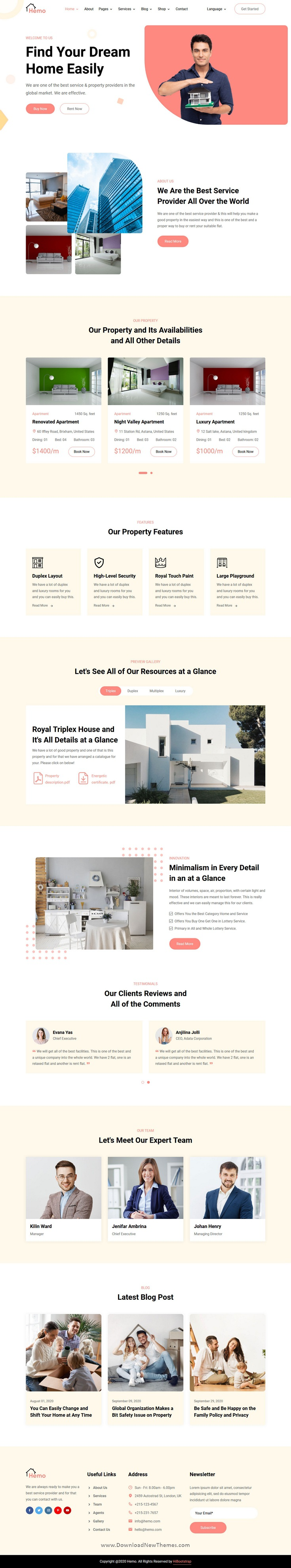 3in1 Single Property and Real Estate Business Website Template