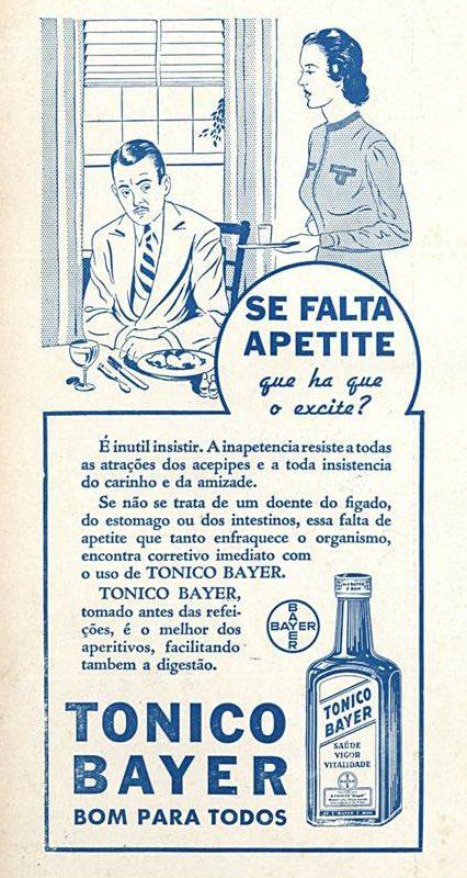 Propaganda antiga do Tônico Bayer veiculada em 1939