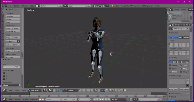 File 3D Make Human yang di Import ke Blender dan membuat Pose