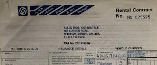 Allen Bros Rental Contract header 17 May 1985