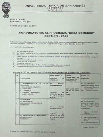 CONVOCATORIA AL PROGRAMA \