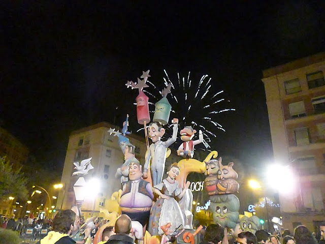 Fireworks during La Crema at Las Fallas Festival in Valencia, Spain